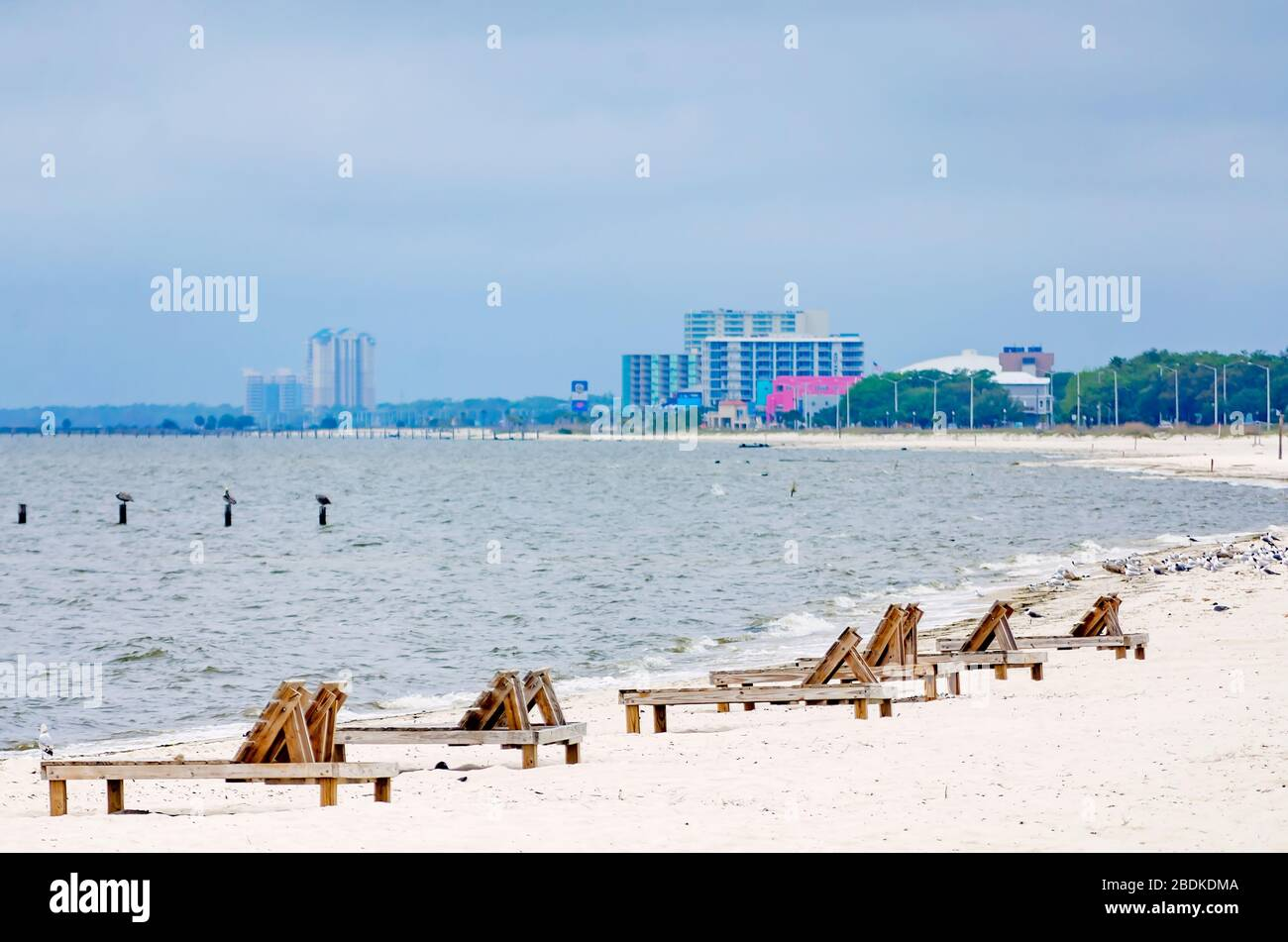 Lounge Chairs Are Empty And Biloxi Beach Is Closed During The
