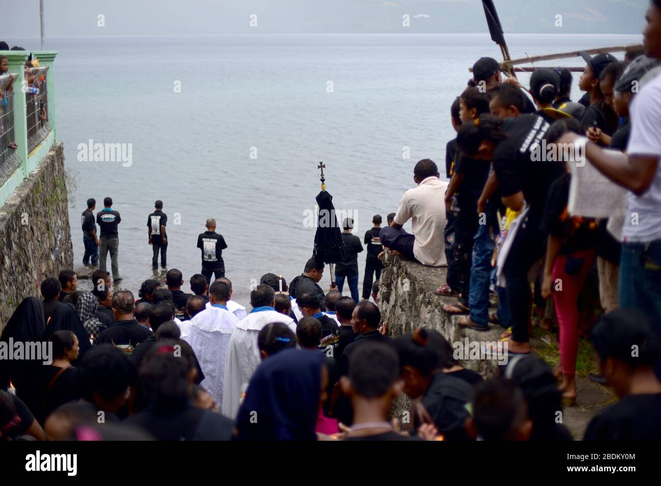 Crowds during Semana Santa (Holy Week) procession in Larantuka, Flores Island, Indonesia. Photo: Reynold Sumayku Stock Photo