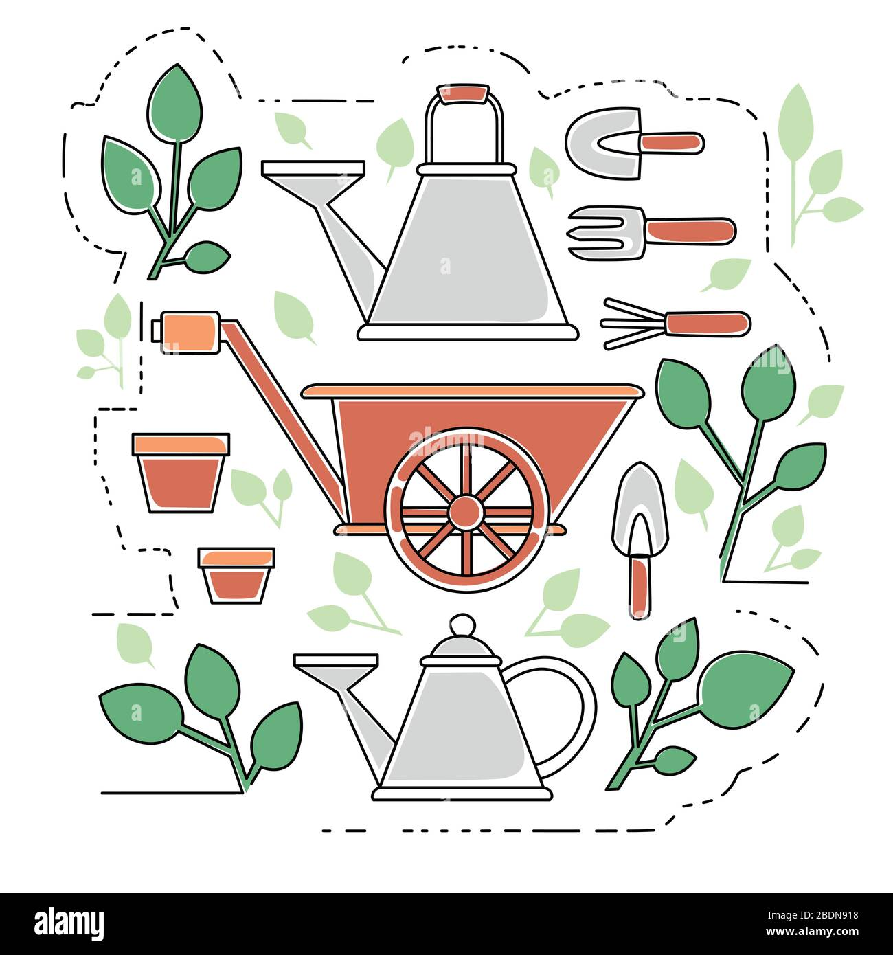 Gardening items collection outline icons set flat vector illustration on white background Stock Vector