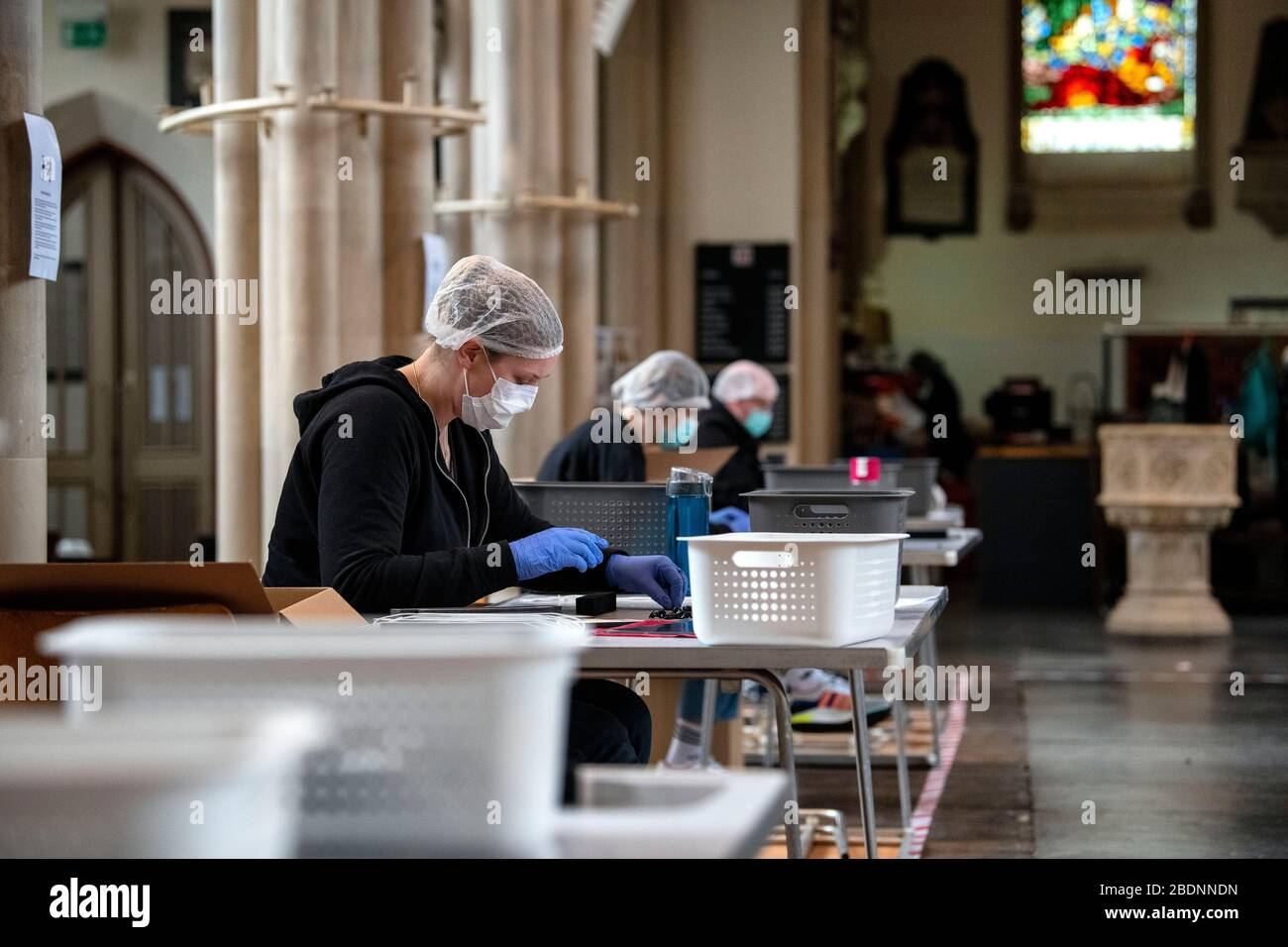 St Michael's Without Church in Bath, has opened its doors and transformed into a makeshift PPE mask production line during the Coronavirus outbreak. Stock Photo