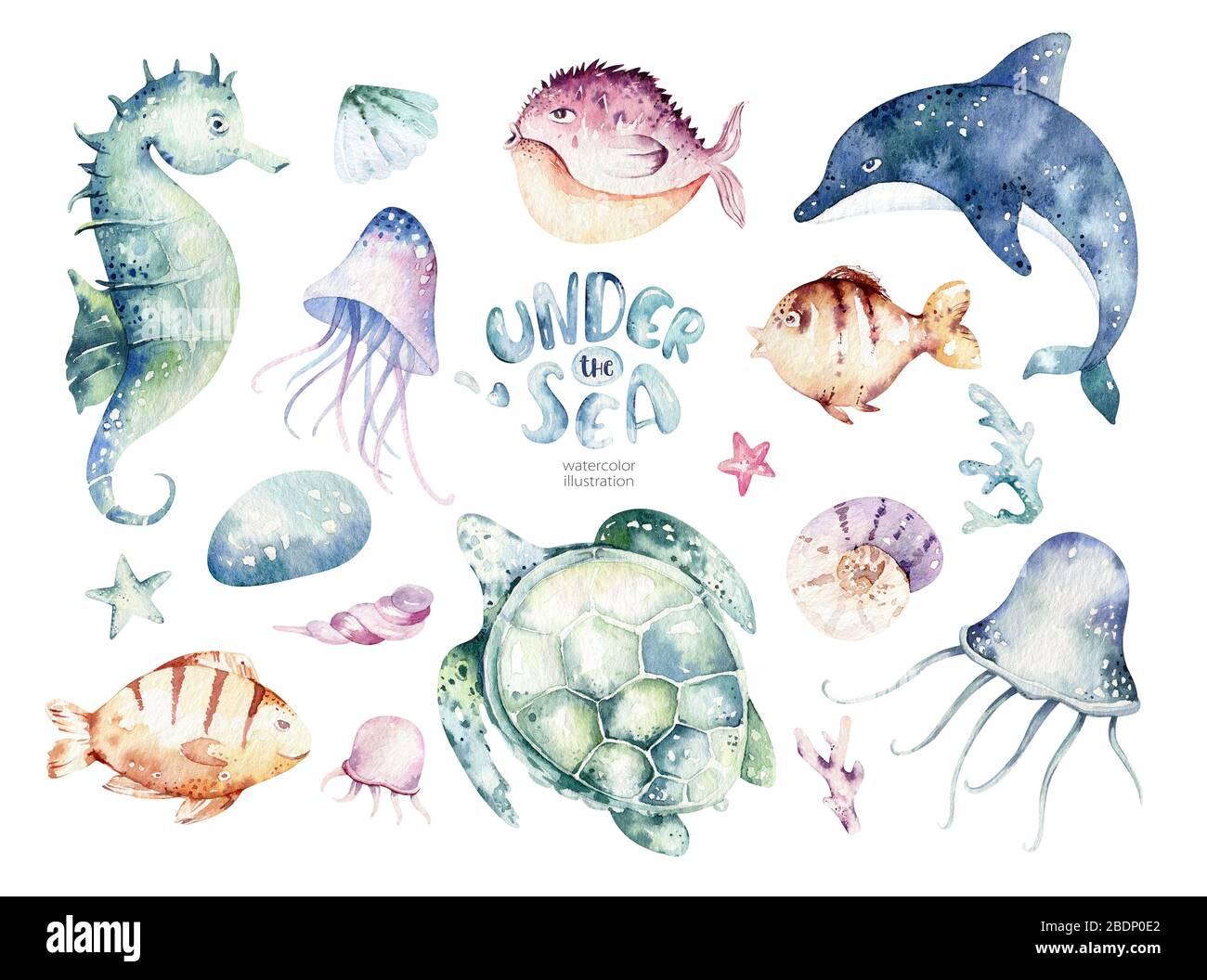 Watercolor sea wave background. vector illustration.