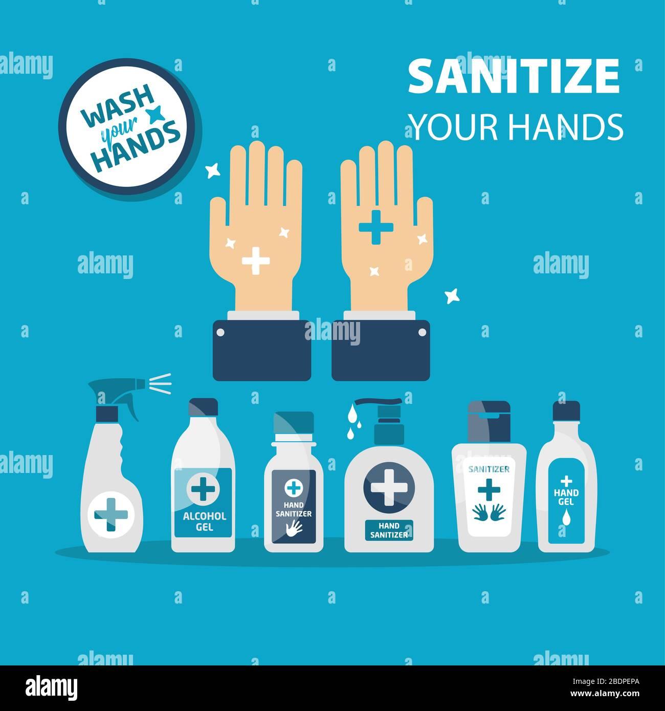 Vector hand sanitizer symbol, alcohol bottle for hygiene, isolated on blue background, medical illustration. Stock Vector