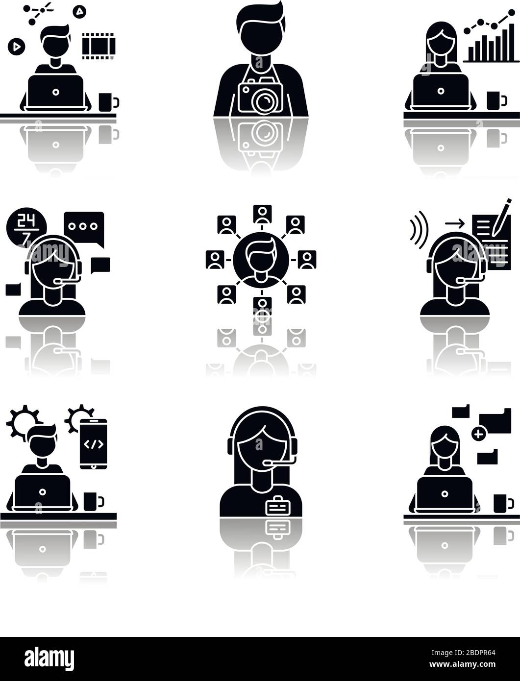 Remote Jobs Drop Shadow Black Glyph Icons Set Technical And Admin Support Seo And Marketing Photography And Video Editing Data Entry Jobs Stock Vector Image Art Alamy