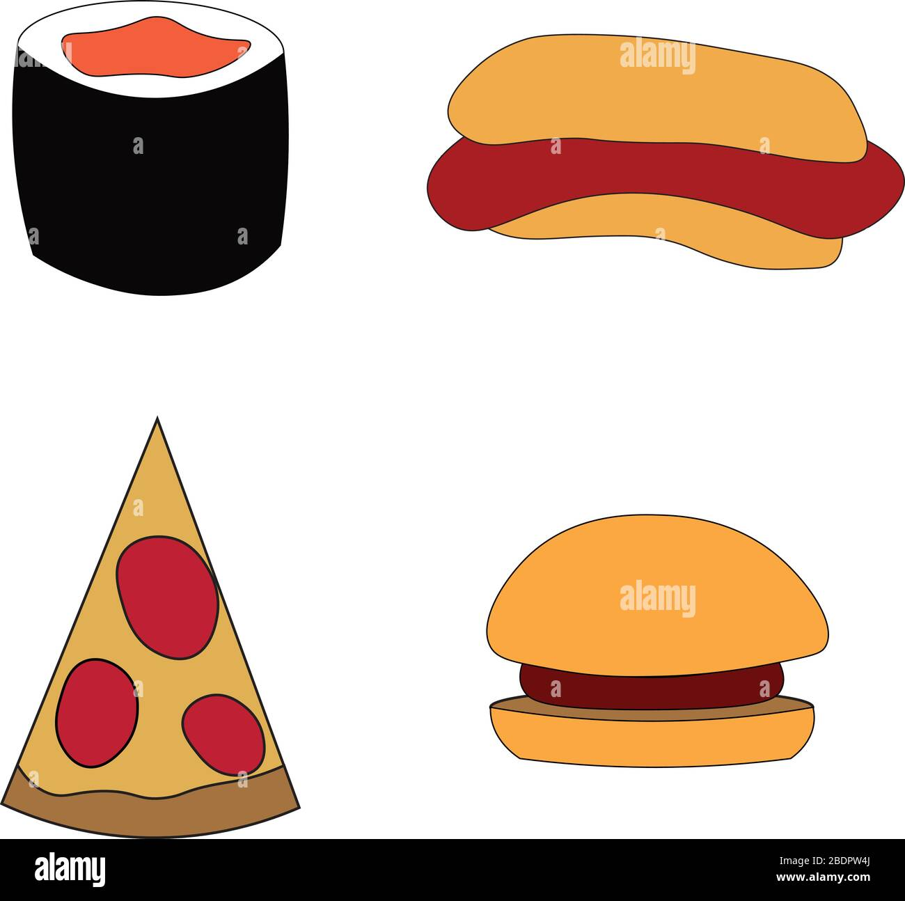 Minimalistic Fast Food Pizza And Burger Hot Dog And Sushi Design For Cafe Restaurant And Menu Flyers Advertisements And Print Stock Vector Image Art Alamy
