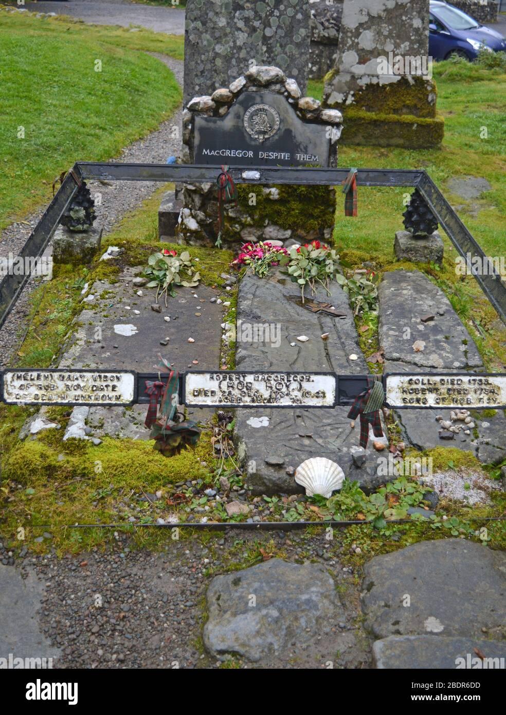 Rob Roy's grave, Balquhidder Church, Stirling, Highlands, Scotland Stock Photo