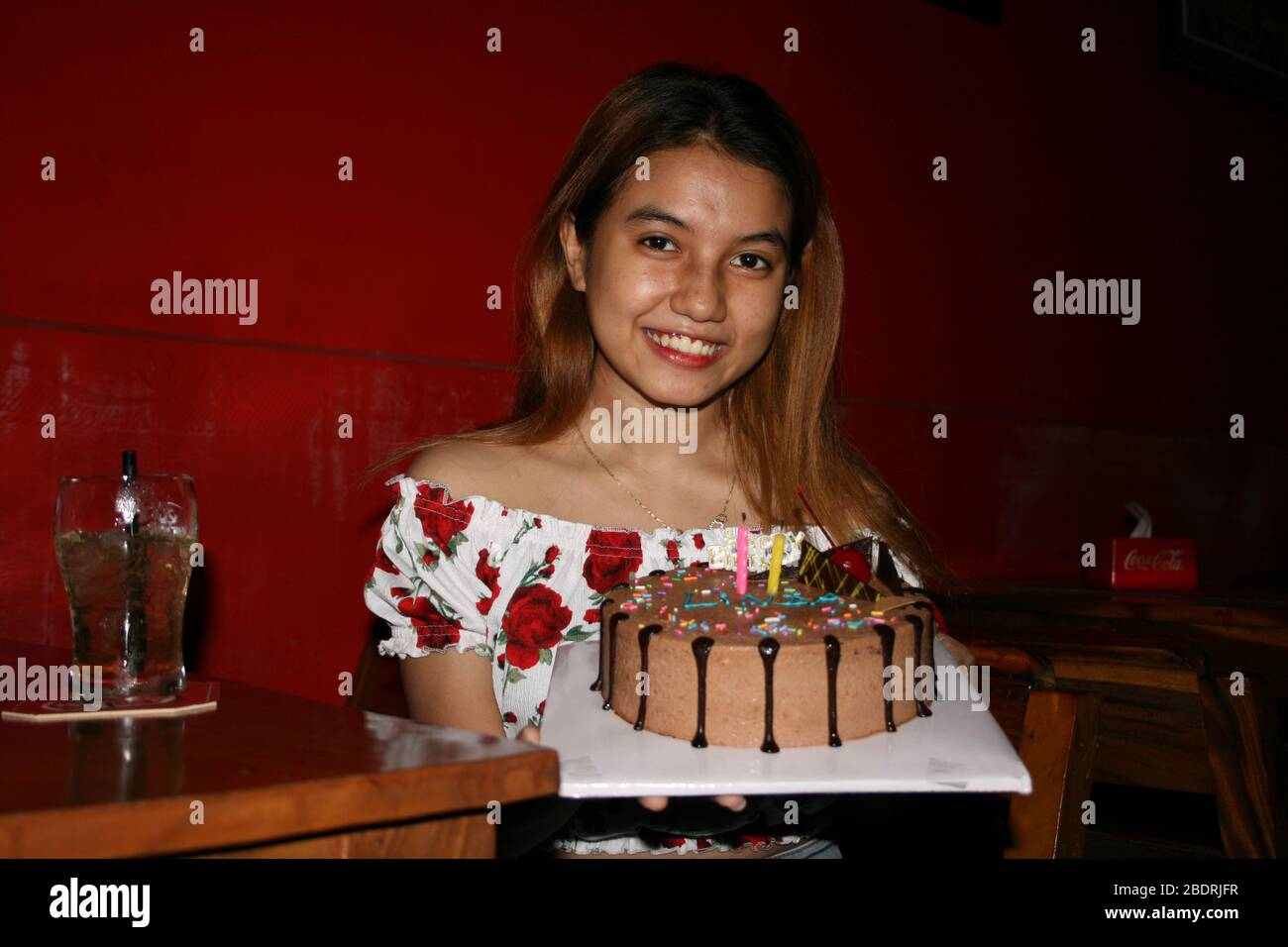 Enjoyable A Cute Cambodian Woman Celebrates Her 22Nd Birthday In A Bar W A Birthday Cards Printable Trancafe Filternl