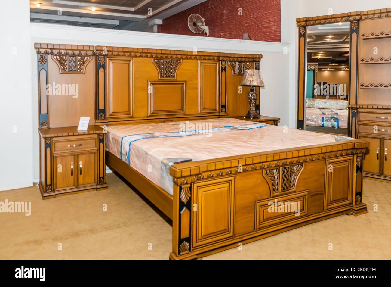 Jhelum Punjab Pakistan January 17 2020 Modern Bedroom With King Side Double Bed With Headboard Side Tables Lamps Jhelum Punjab Pakistan Stock Photo Alamy