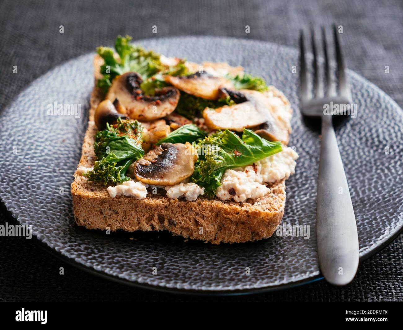 11+ Vegan Ricotta, Mushrooms and Kale on Toast Stock Photo   Alamy Stock