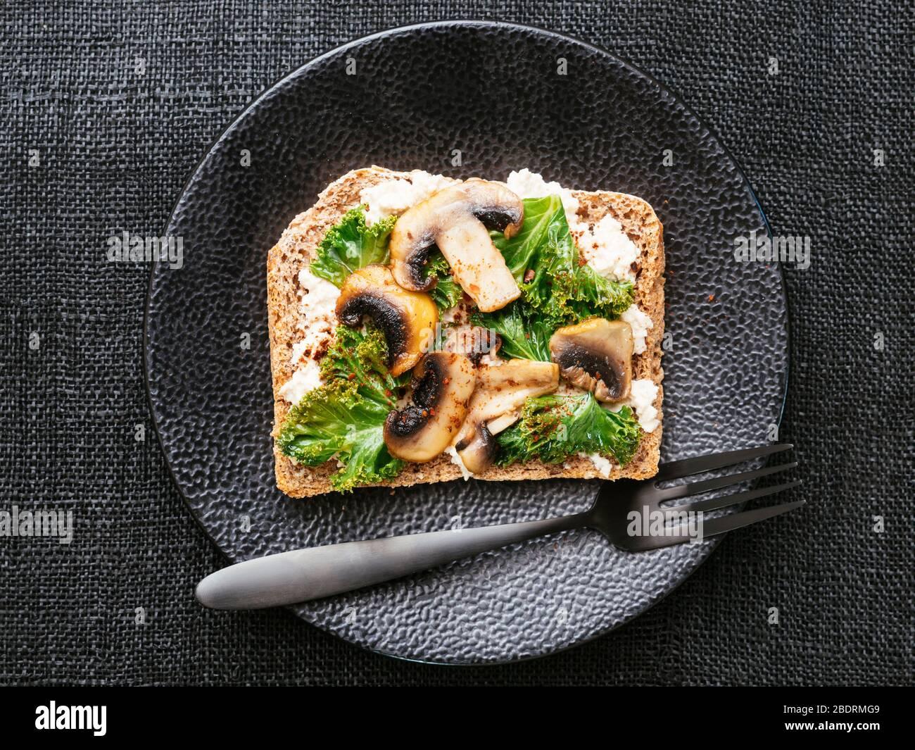 Vegan Ricotta, Mushrooms and Kale on Toast Stock Photo   Alamy
