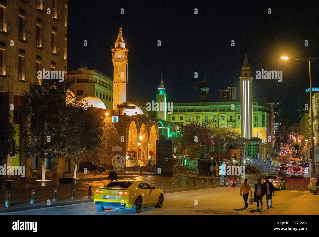 Al Omari grand Mosque on Waygand Street,Central Beirut Stock Photo