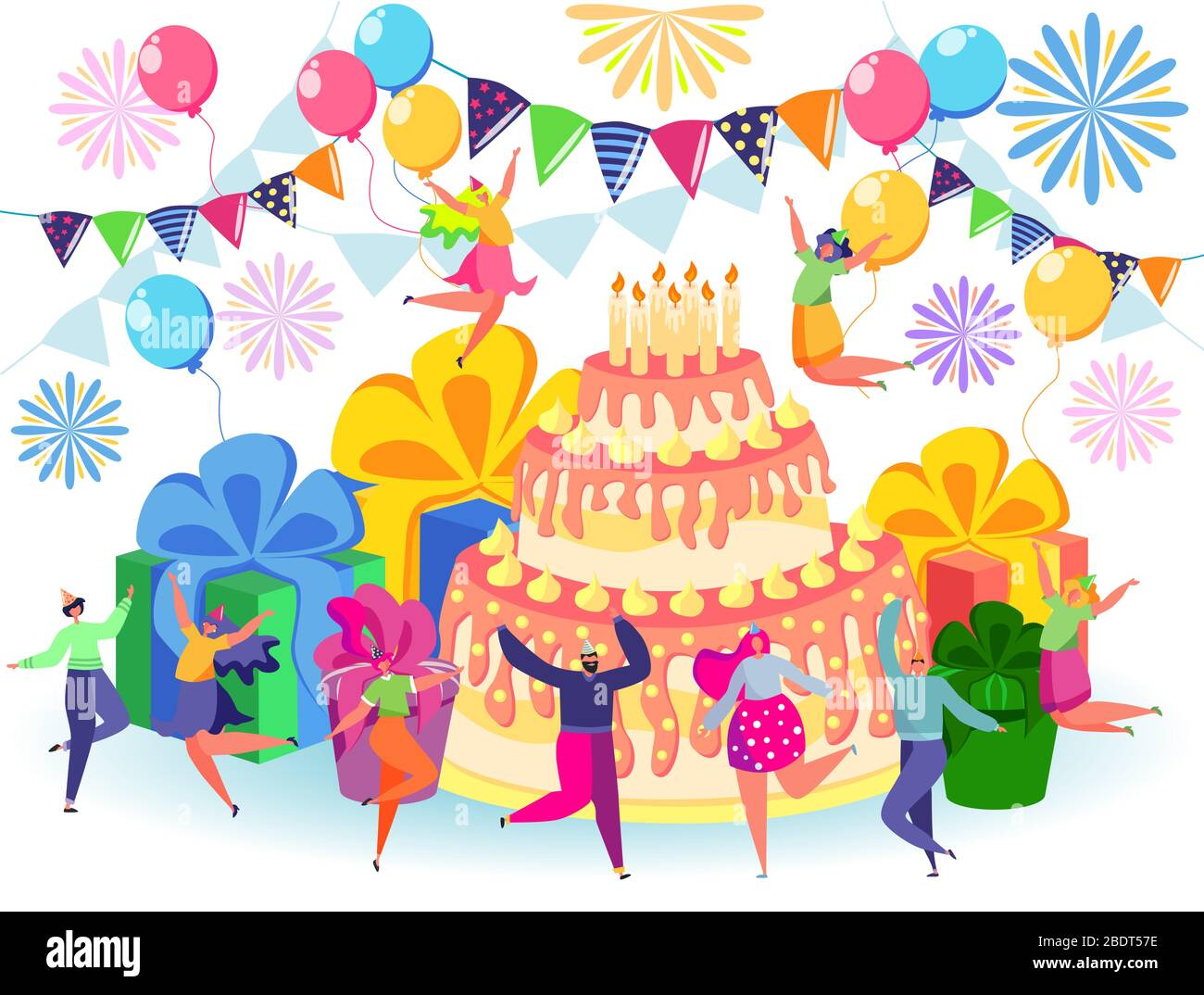Happy Birthday Celebration Concept With Friends Anniversary Confetti With Happy Funny Flat Cartoon Characters Stock Vector Image Art Alamy