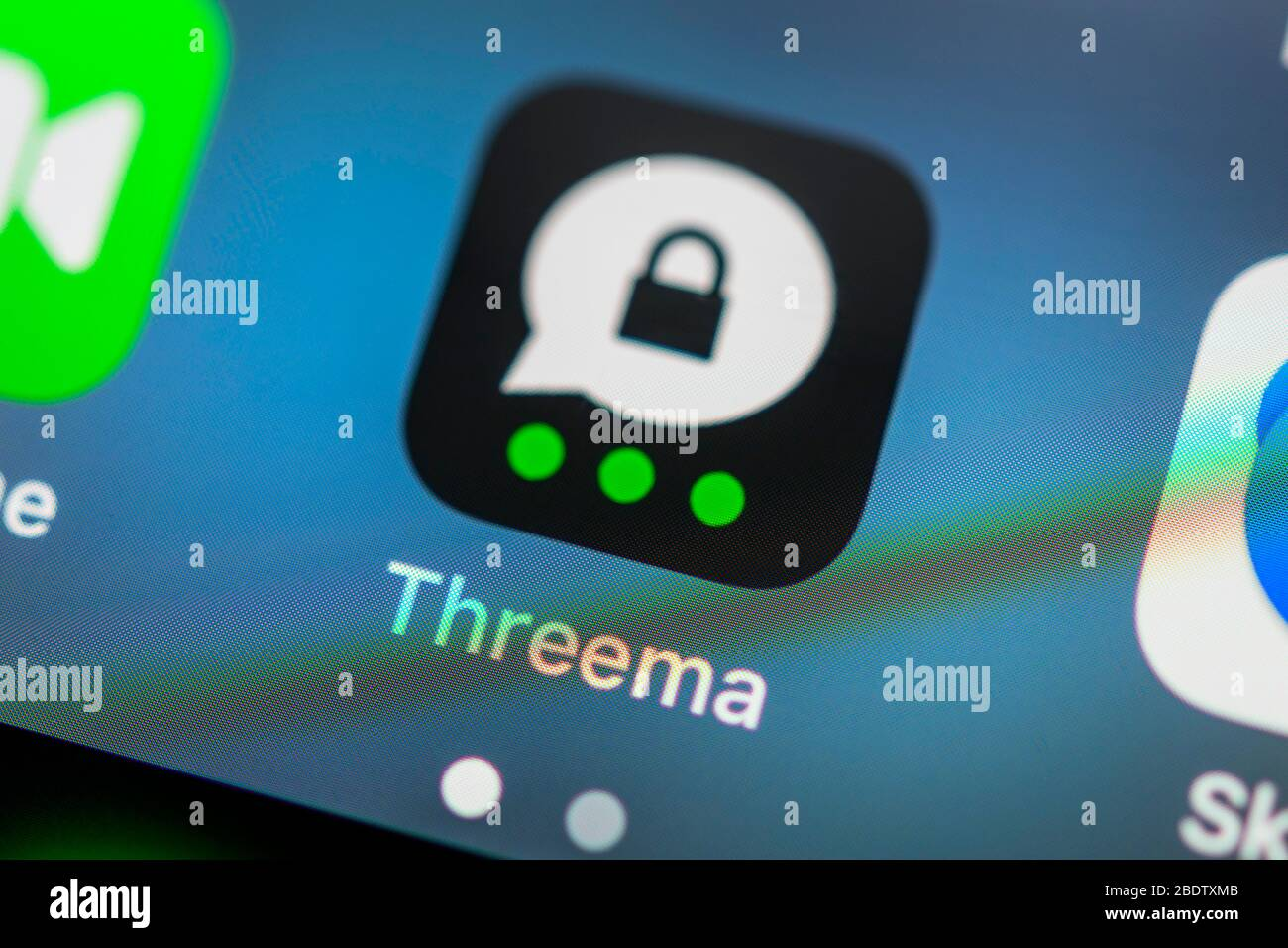 Threema App, Secure encrypted messenger service, app icon, display on screen of mobile phone, smartphone, detail, full screen Stock Photo