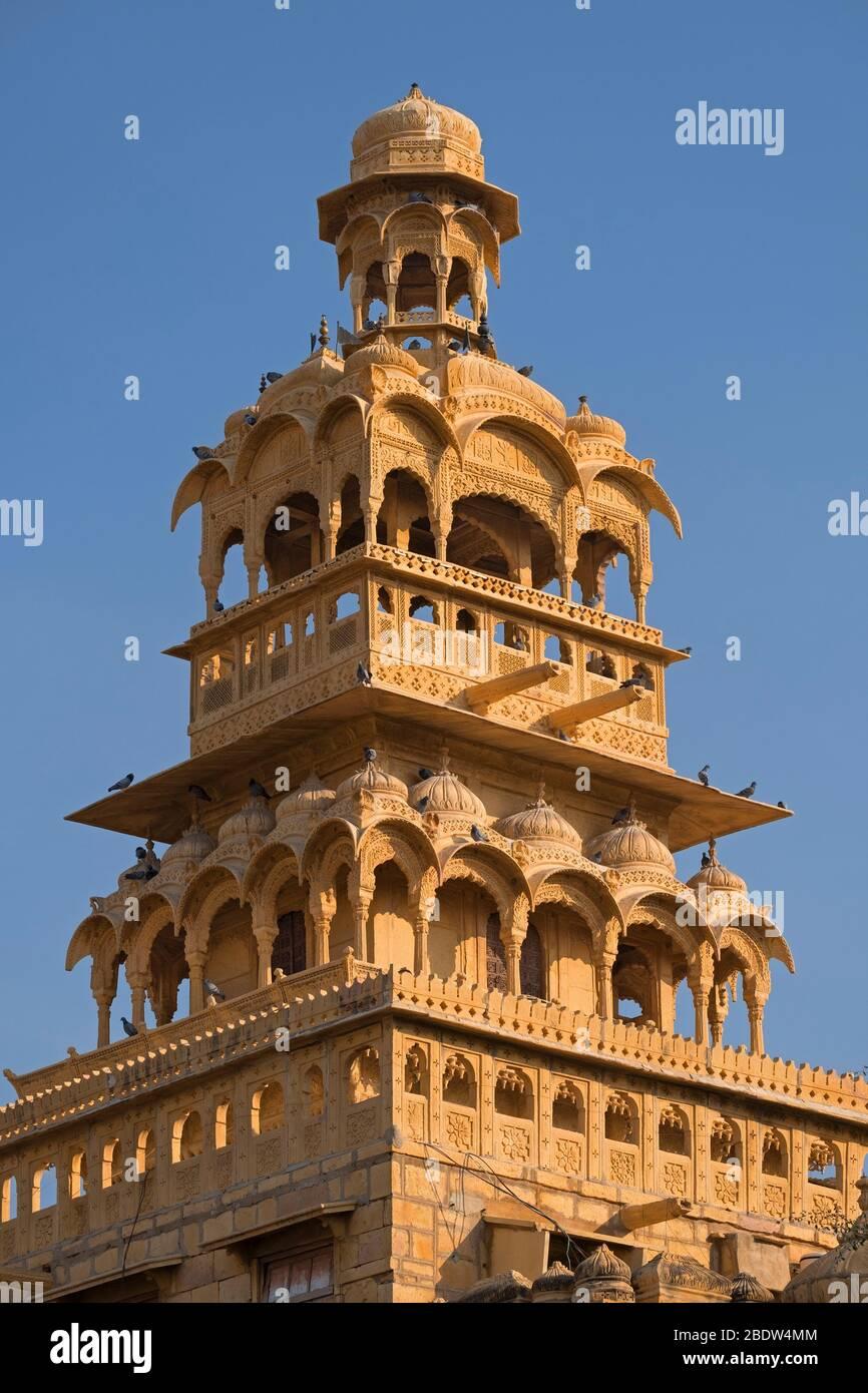 Tazia Tower Badal Vilas Mandir Palace Jaisalmer Rajasthan India Stock Photo