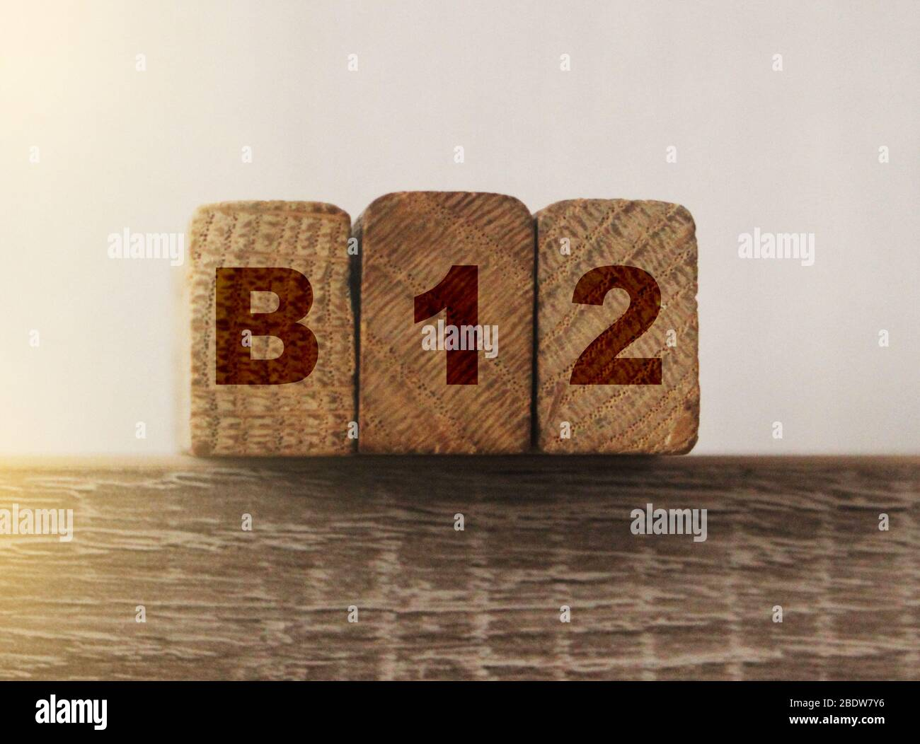 B12 on Wooden Blocks . Vitamin healthcare and healthy living concept Stock Photo