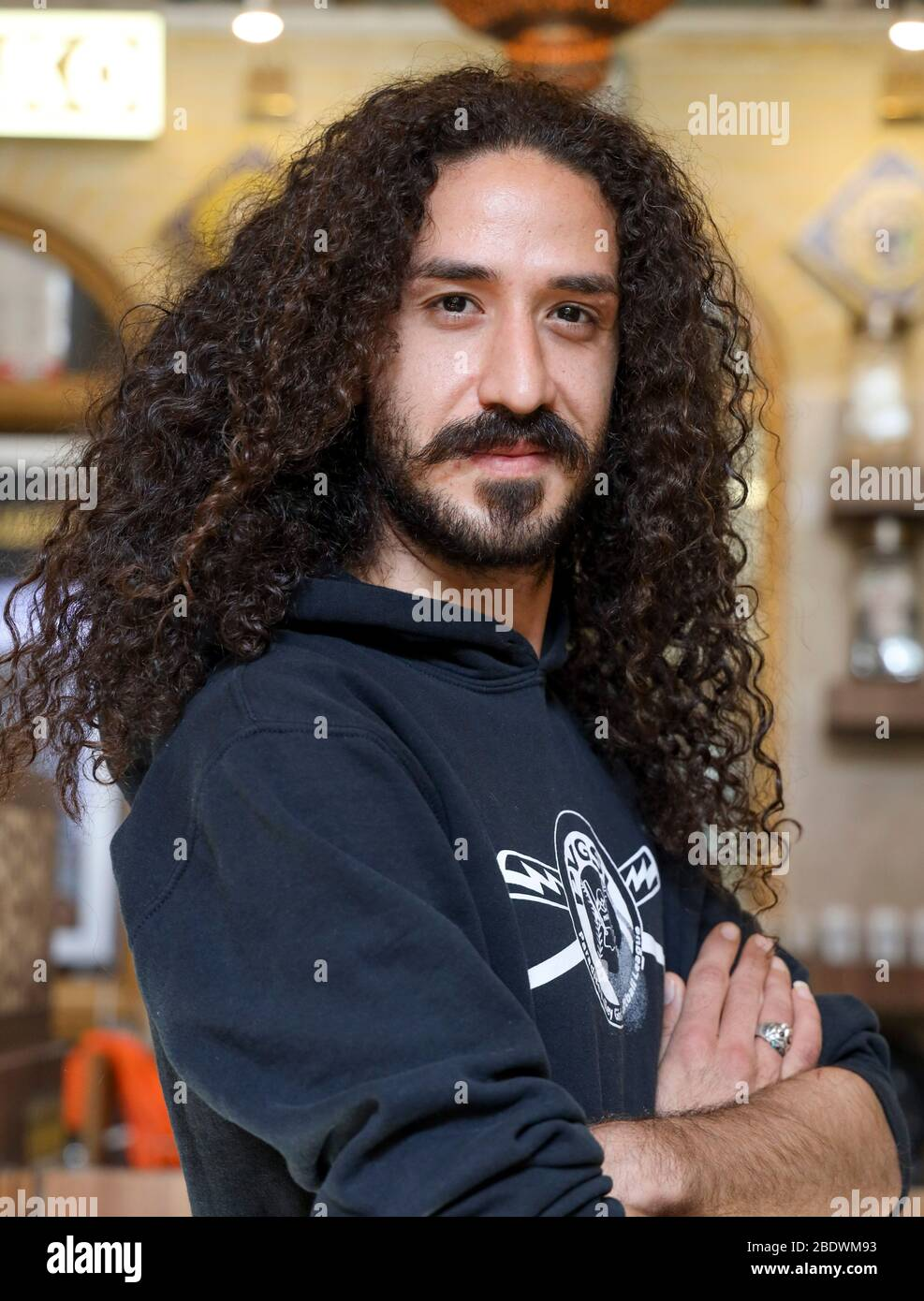 Portrait Of A Young Man With Dark Long Curly Hair In Isfahan Iran Persia Middle East Stock Photo Alamy