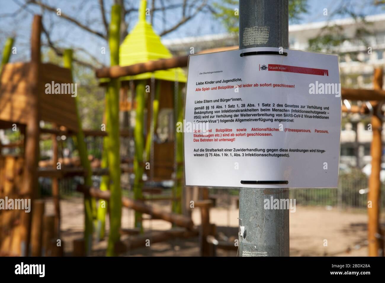 Coronavirus / Covid 19 outbreak, April 8th. 2020. Closed children's playground at the street Theodor-Heuss-Ring, Cologne, Germany  Coronavirus / Covid Stock Photo
