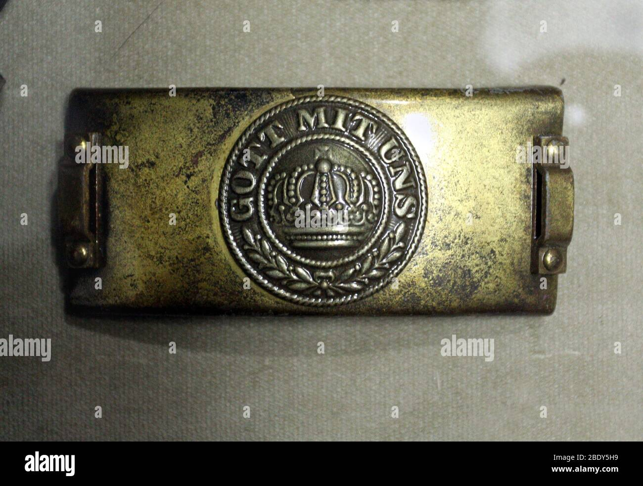 Cracow Krakow Poland Brass Ww I German Empire Belt Buckle With Round Silver Relief Featuring A Crown And The Inscription Gott Mit Uns Stock Photo Alamy