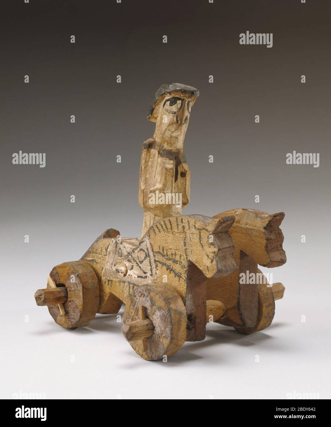 Rider and Two Horses Toy, 4th Century AD Stock Photo