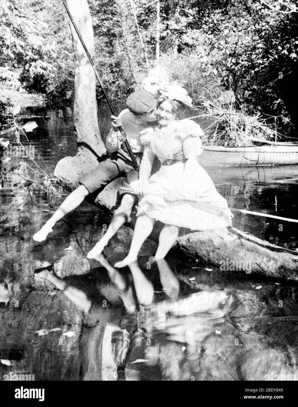 Fishing for A Kiss, 1899 Stock Photo