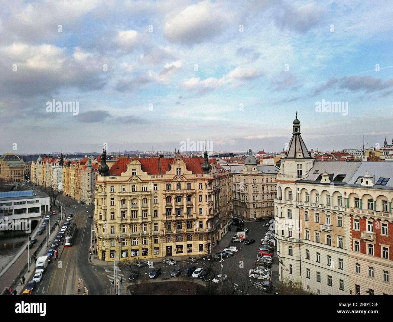 Czech Republic, Prague, View from Dancing House, Moldovan river Stock Photo