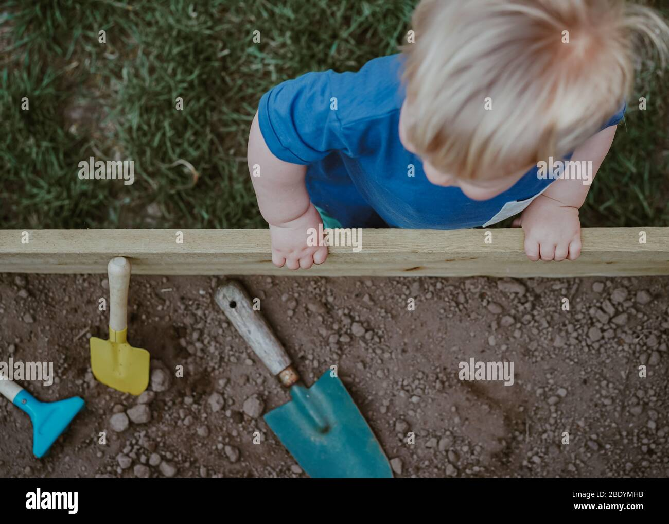 Little boy toddler gardening Stock Photo