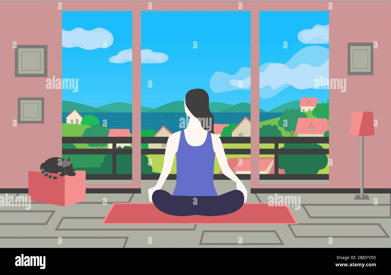 Woman Meditating Yoga Sitting At Home Flat Vector Stay At Home Meditation Practice Cartoon Breathing Exercise Workout Background Healthy Lifestyle Stock Vector Image Art Alamy