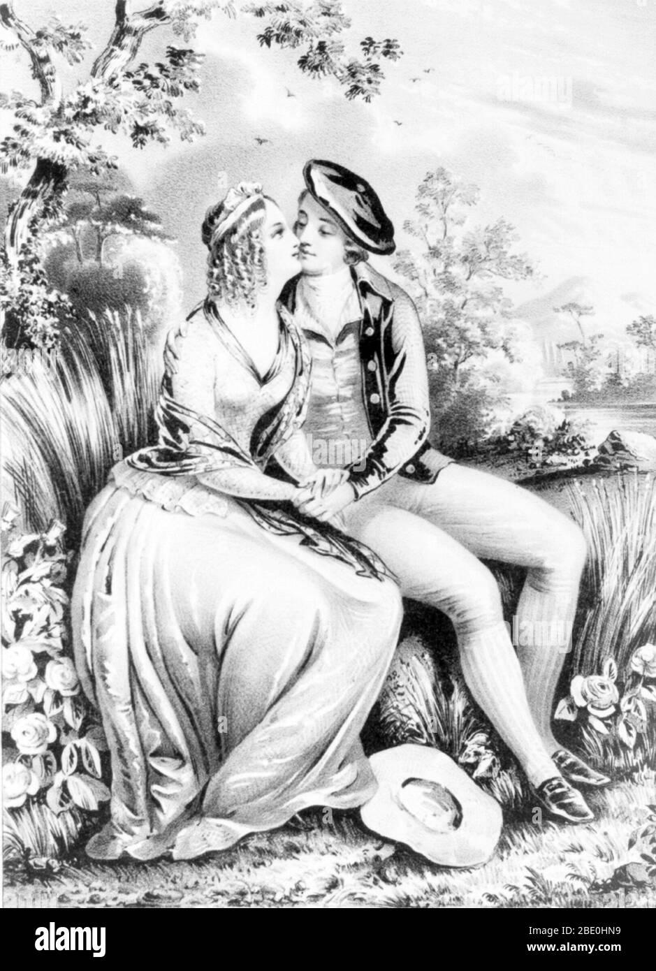Lithograph of Burns and Campbell sitting in a woodland setting, holding hands, and kissing. Robert Burns (January 25, 1759 - July 21, 1796) was a Scottish poet and lyricist. He is widely regarded as the national poet of Scotland and is celebrated worldwide. He is regarded as a pioneer of the Romantic movement, and after his death he became a great source of inspiration to the founders of both liberalism and socialism, and a cultural icon in Scotland. Celebration of his life and work became almost a national charismatic cult during the 19th and 20th centuries, and his influence has long been st Stock Photo