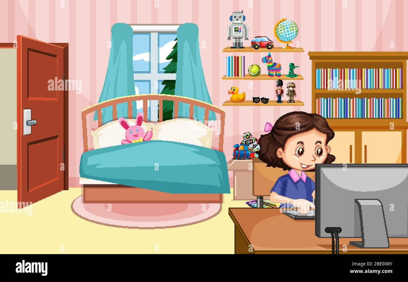 Scene With Girl Working On Computer In The Bedroom Illustration Stock Vector Image Art Alamy