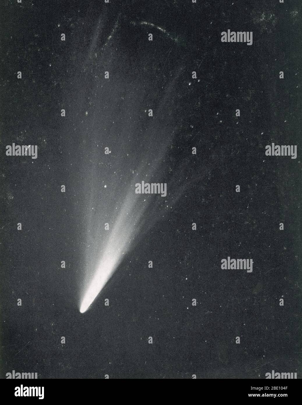 Comet West as photographed from the Lick Observatory in 1976 March. Comet West, officially known as C/1975 V1, 1976 VI, and 1975n, was an awesome comet that was sometimes considered to qualify for the status of great comet. A Great Comet is a comet that becomes exceptionally bright; there is no official definition, often the term will be attached to comets that become bright enough to be noticed by casual observers who are not actively looking for them, and become well known outside the astronomical community. Great Comets are rare; on average only one will appear in a decade. While comets are Stock Photo