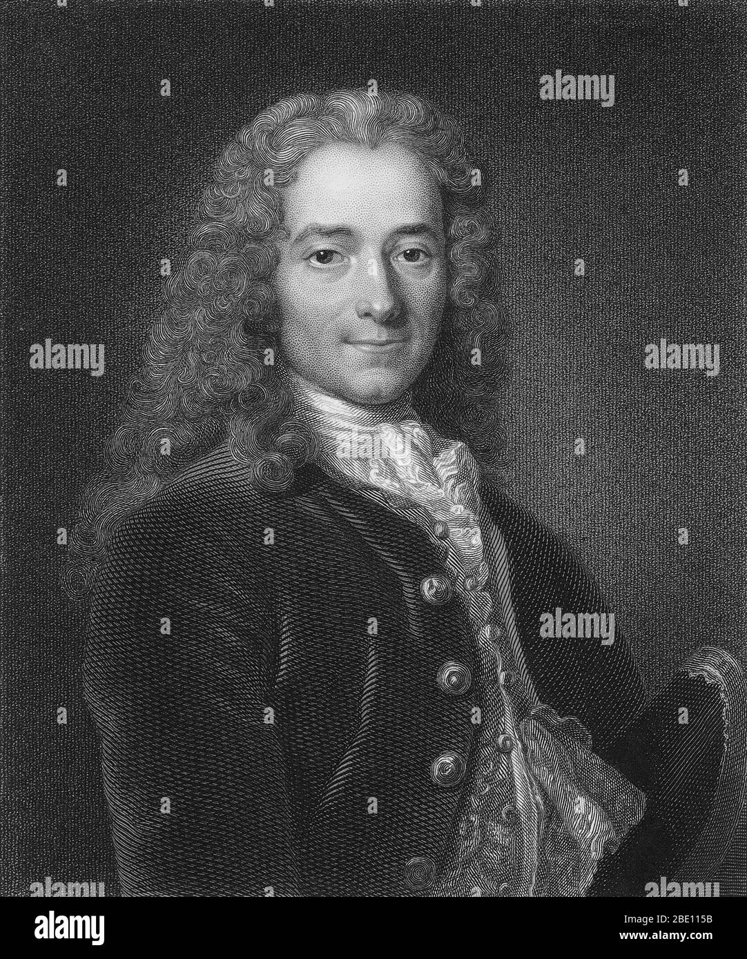 Francois-Marie Arouet (November 21, 1694 - May 30, 1778), known by his nom de plume Voltaire, was a French Enlightenment writer, historian and philosopher famous for his wit, his attacks on the established Catholic Church, and his advocacy of freedom of religion, freedom of expression, and separation of church and state. Voltaire was a versatile writer, producing works in almost every literary form, including plays, poems, novels, essays, and historical and scientific works. He wrote more than 20,000 letters and more than 2,000 books and pamphlets. He was an outspoken advocate, despite the ris Stock Photo
