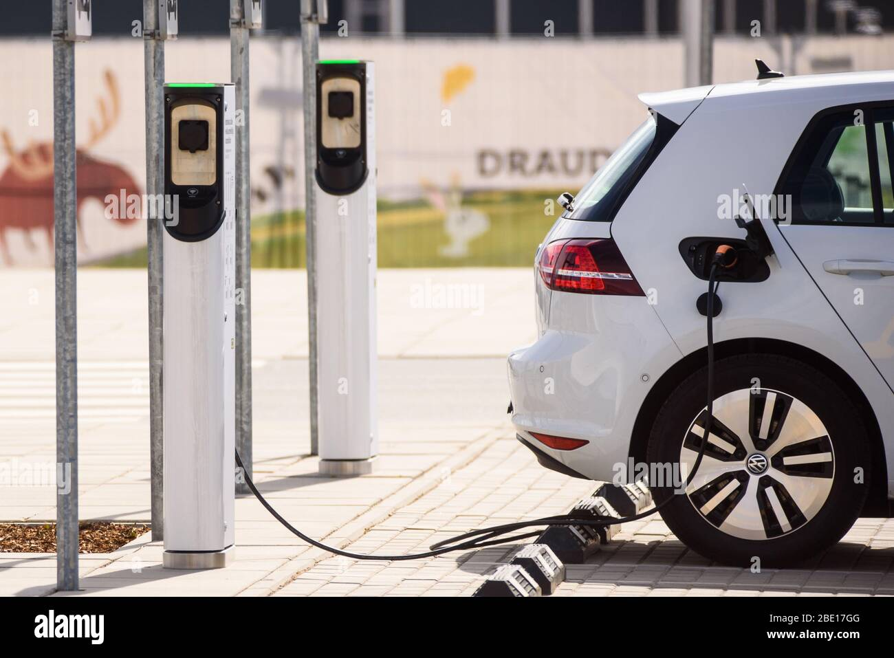 RIGA, LATVIA. 10th April, 2020. Electrical Vehicle Charging Station near IKEA store. Stock Photo