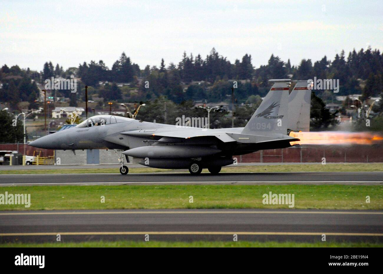 An Oregon Air National Guard F-15C Eagle takes off from the Portland Air National Guard Base Oct. 2, 2010. Stock Photo