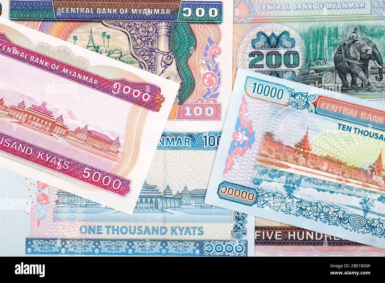 Currency of Myanmar - Kyat a business background Stock Photo - Alamy