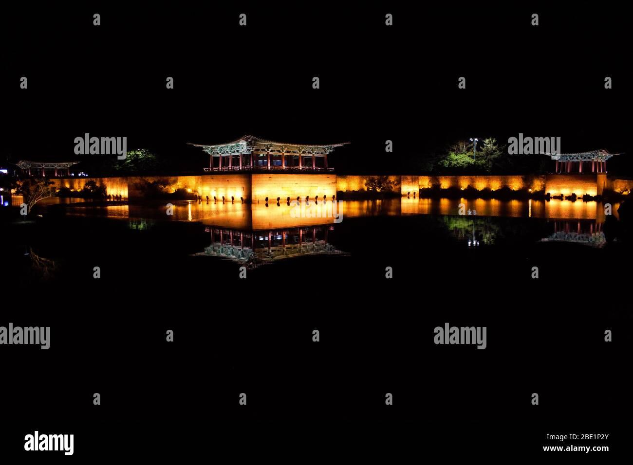 Anapji Pond, Wolji Pond at night, Gyeongju, Korea Stock Photo