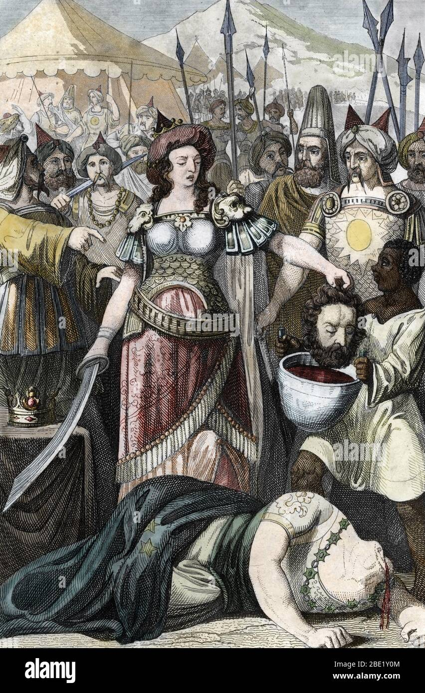 La mort de Cyrus le Grand tue par Tomyris (Thomyris), reine des Massagetes, derniere reine des amazones (Tomyris (Thomyris, Tomris, Tomiride, or Queen Stock Photo