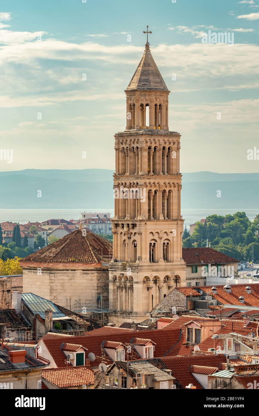 Bell tower in old town of Split Stock Photo