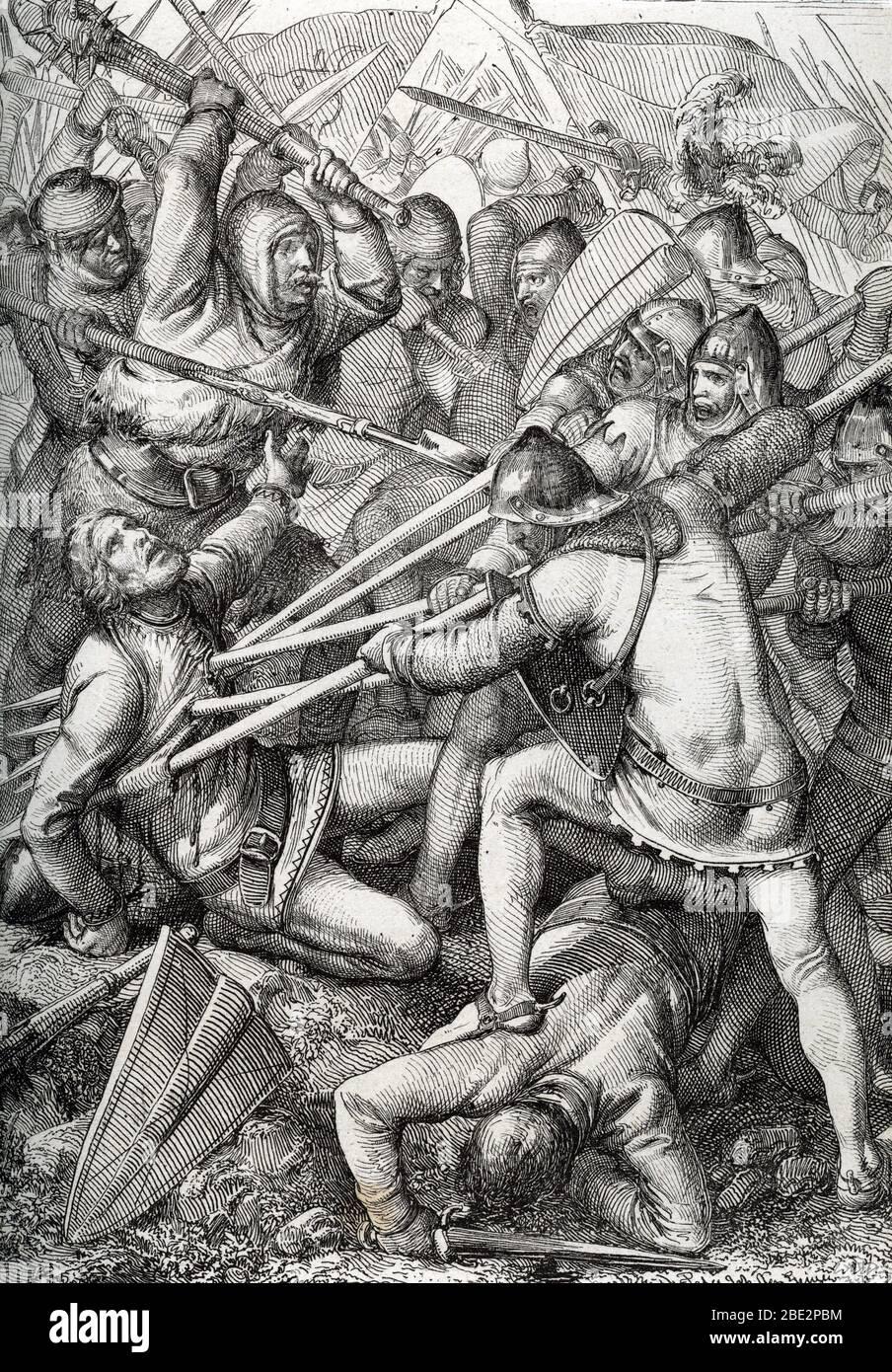 """""""Bataille de sempach"""" Le 9 juillet 1386, les confederes suisses y remporterent une brillante victoire sur le duc Leopold d'Autriche, qui fut tue dans Stock Photo"""