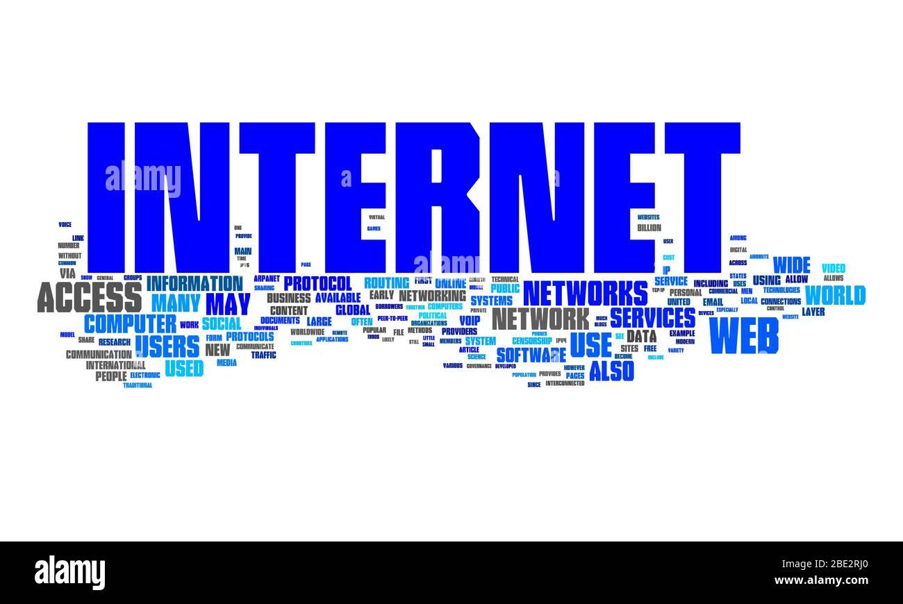 """Eine Wortwolke mit zahlreichen Begriffen zum Thema """"Internet"""" Stock Photo"""