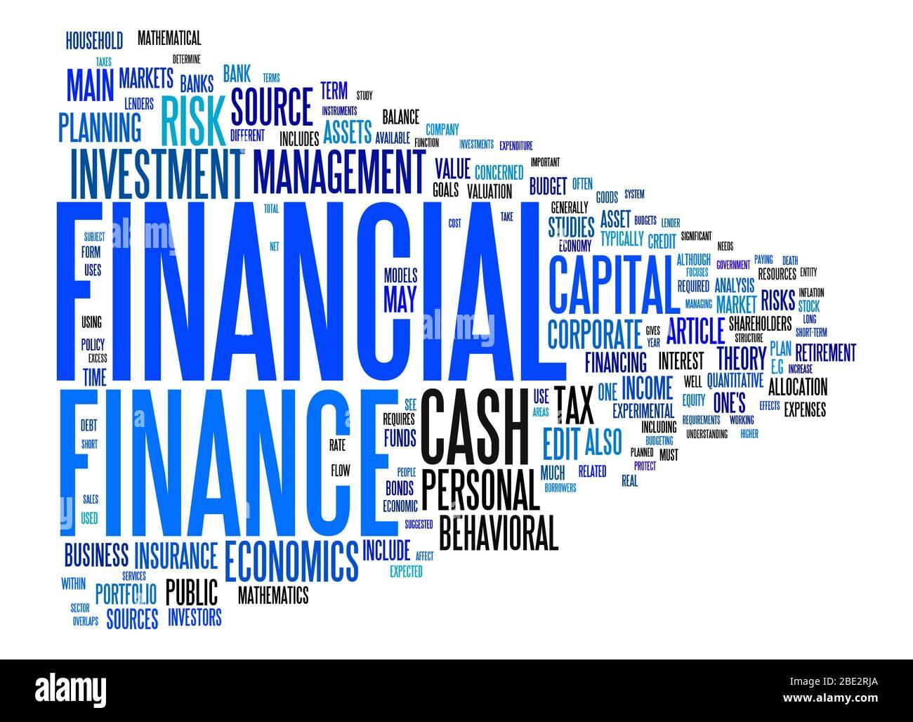 """Eine Wortwolke mit zahlreichen Begriffen zum Thema """"Finanzen"""" Stock Photo"""
