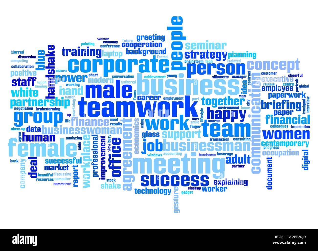 """Eine Wortwolke mit zahlreichen Begriffen zum Thema """"Business"""" Stock Photo"""