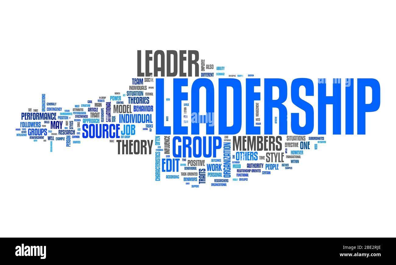 """Eine Wortwolke mit zahlreichen Begriffen zum Thema """"Leadership"""" Stock Photo"""