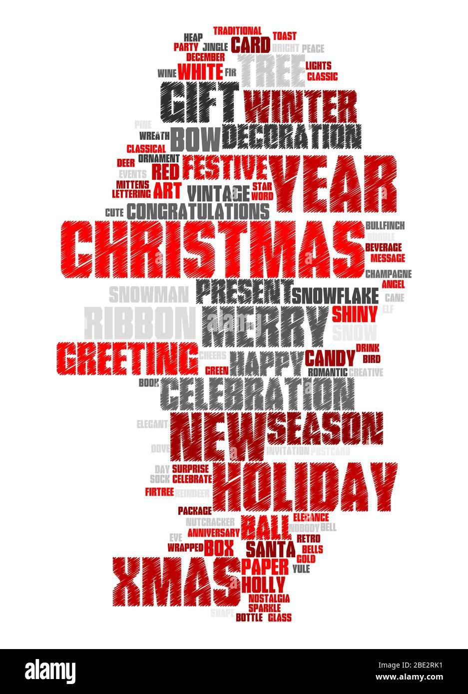 """Eine Wortwolke mit zahlreichen Begriffen zum Thema """"Weihnachten"""" Stock Photo"""