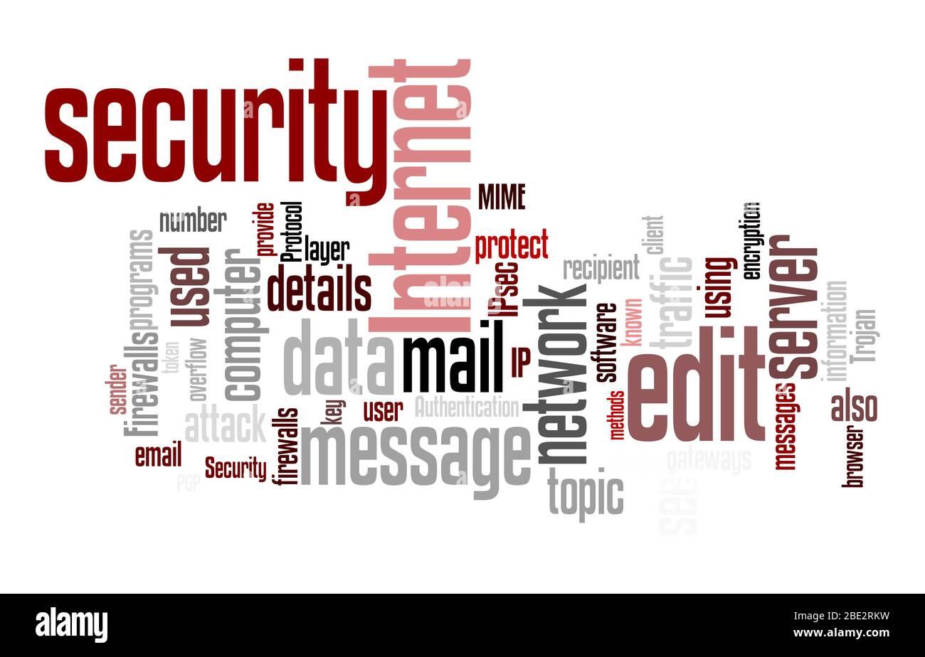 """Eine Wortwolke mit zahlreichen Begriffen zum Thema """"Sicherheit"""" Stock Photo"""