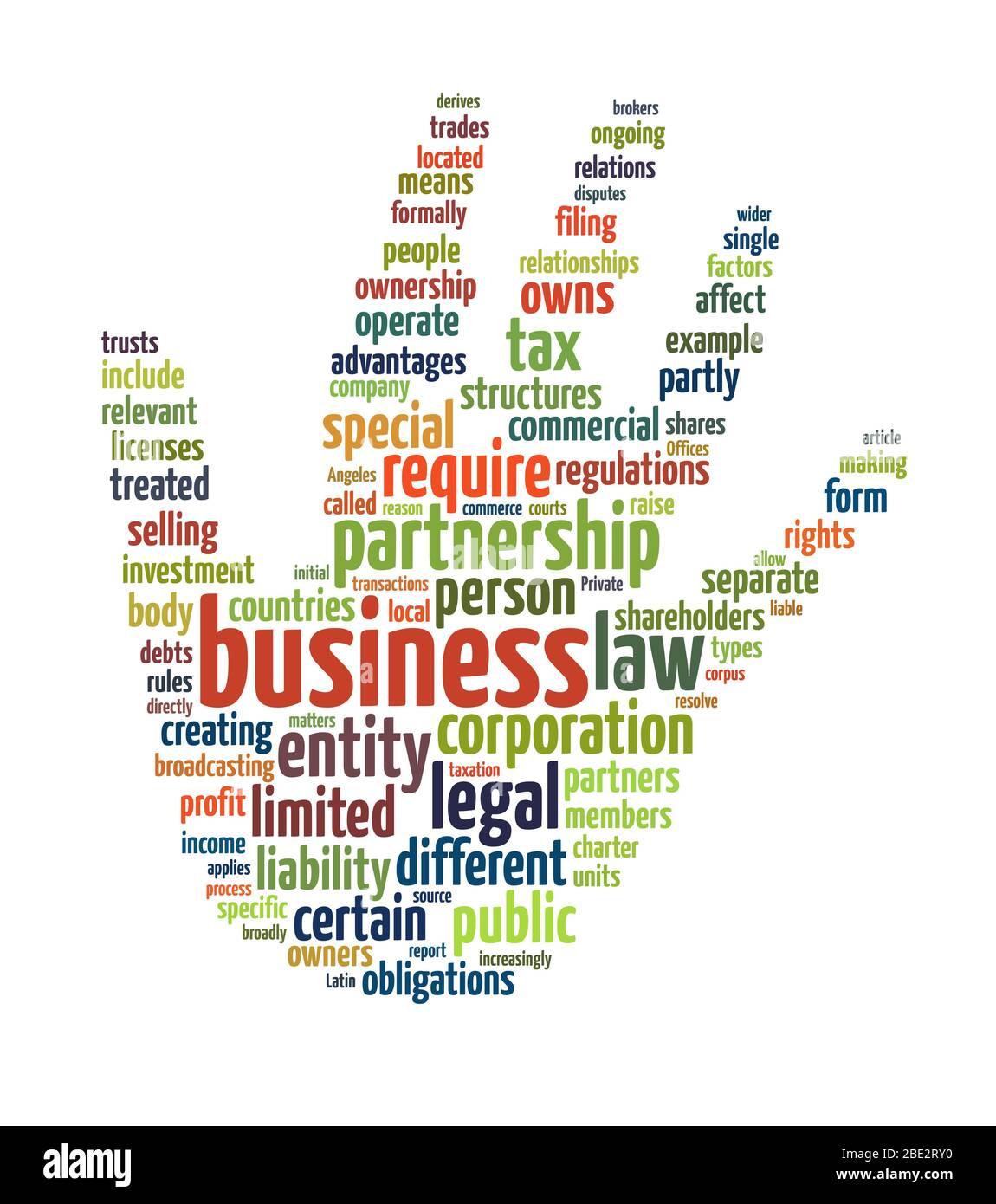 """Eine Wortwolke mit zahlreichen Begriffen zum Thema: """"Business"""" Stock Photo"""