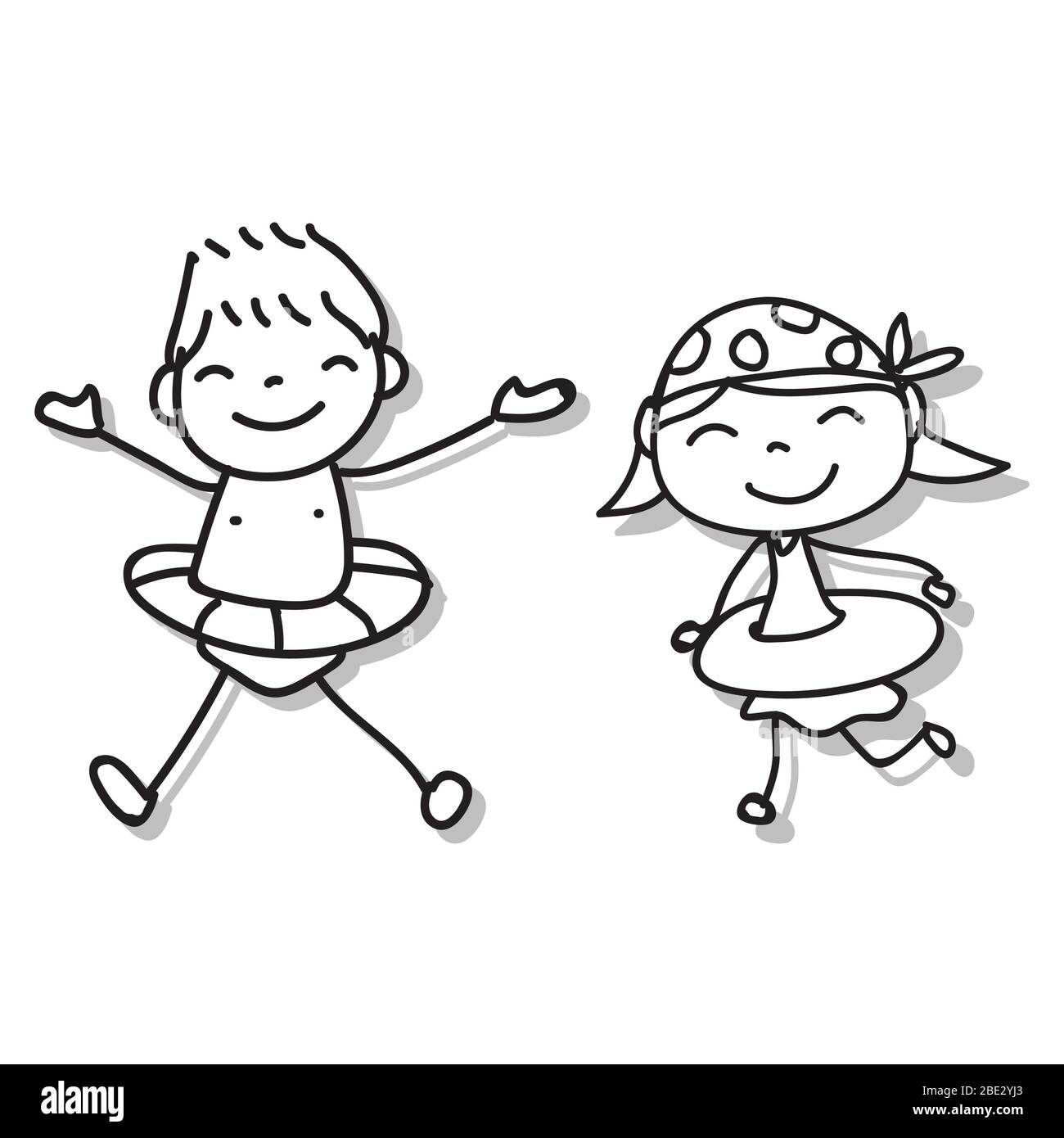 Hand Drawing Cartoon Character Abstract People Happy Kids Playing