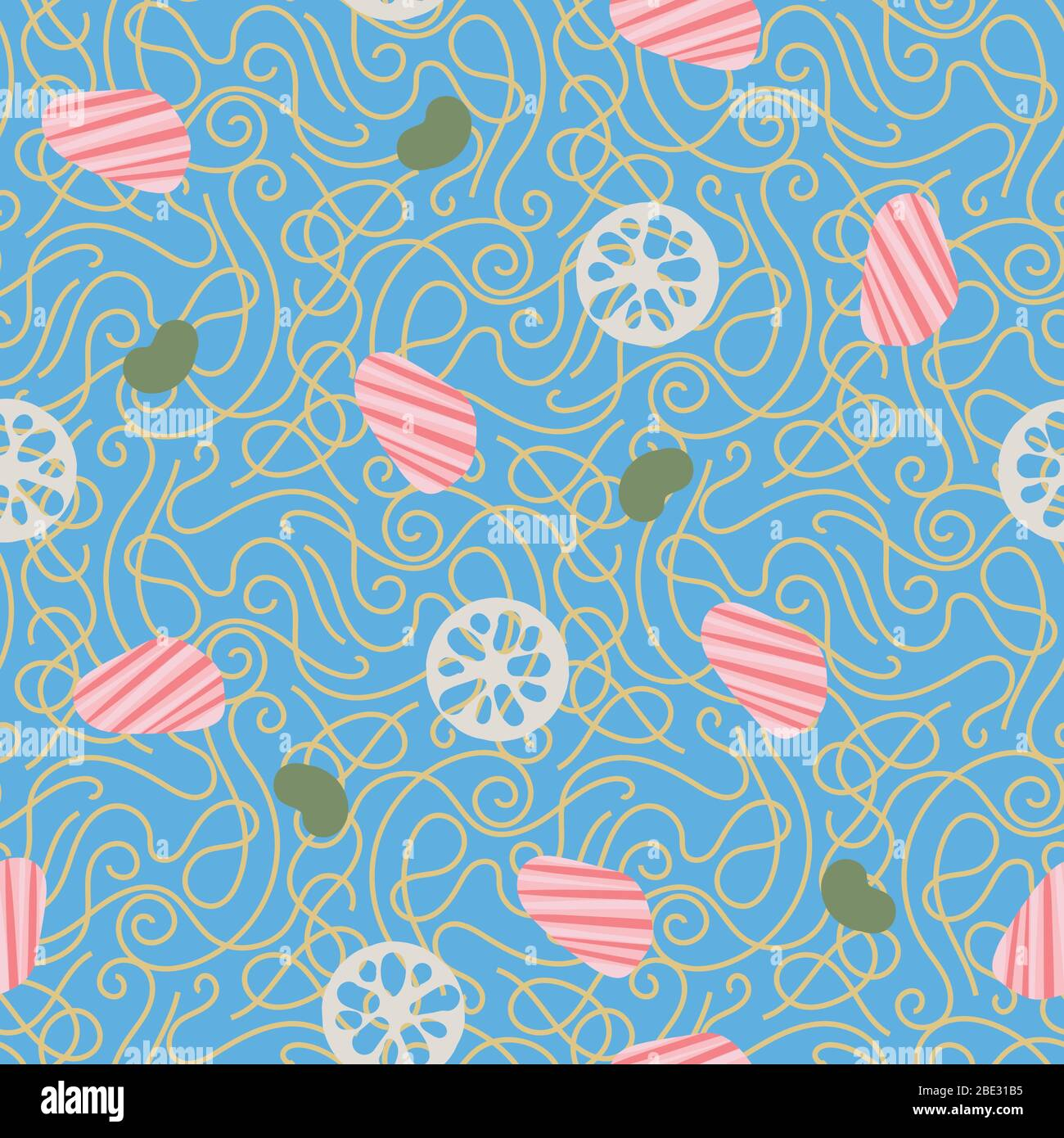 noddles with salmon seamless vector pattern Stock Vector