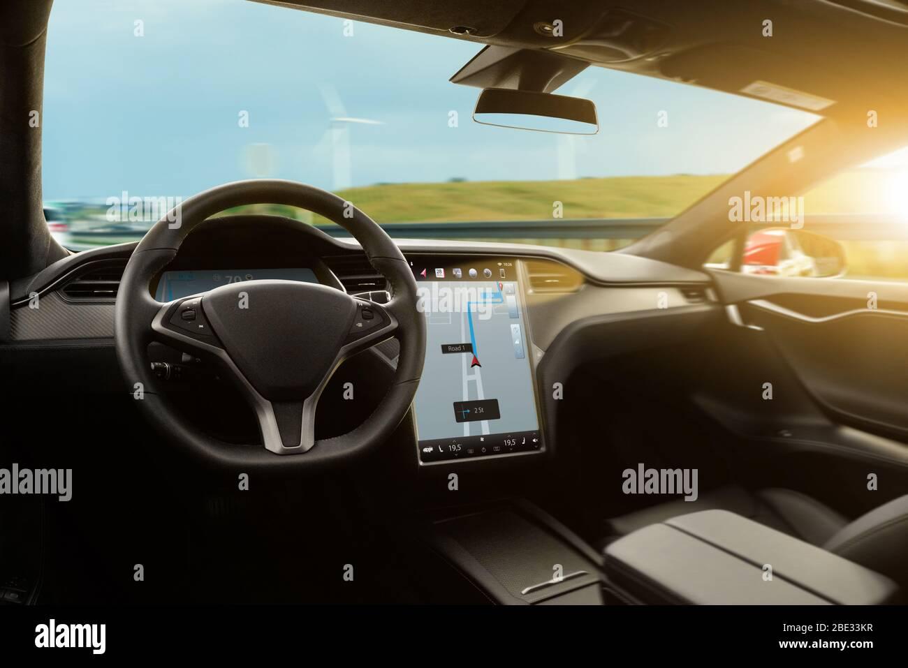 Autonomous Car With Hud Head Up Display Self Driving Vehicle Stock Photo Alamy