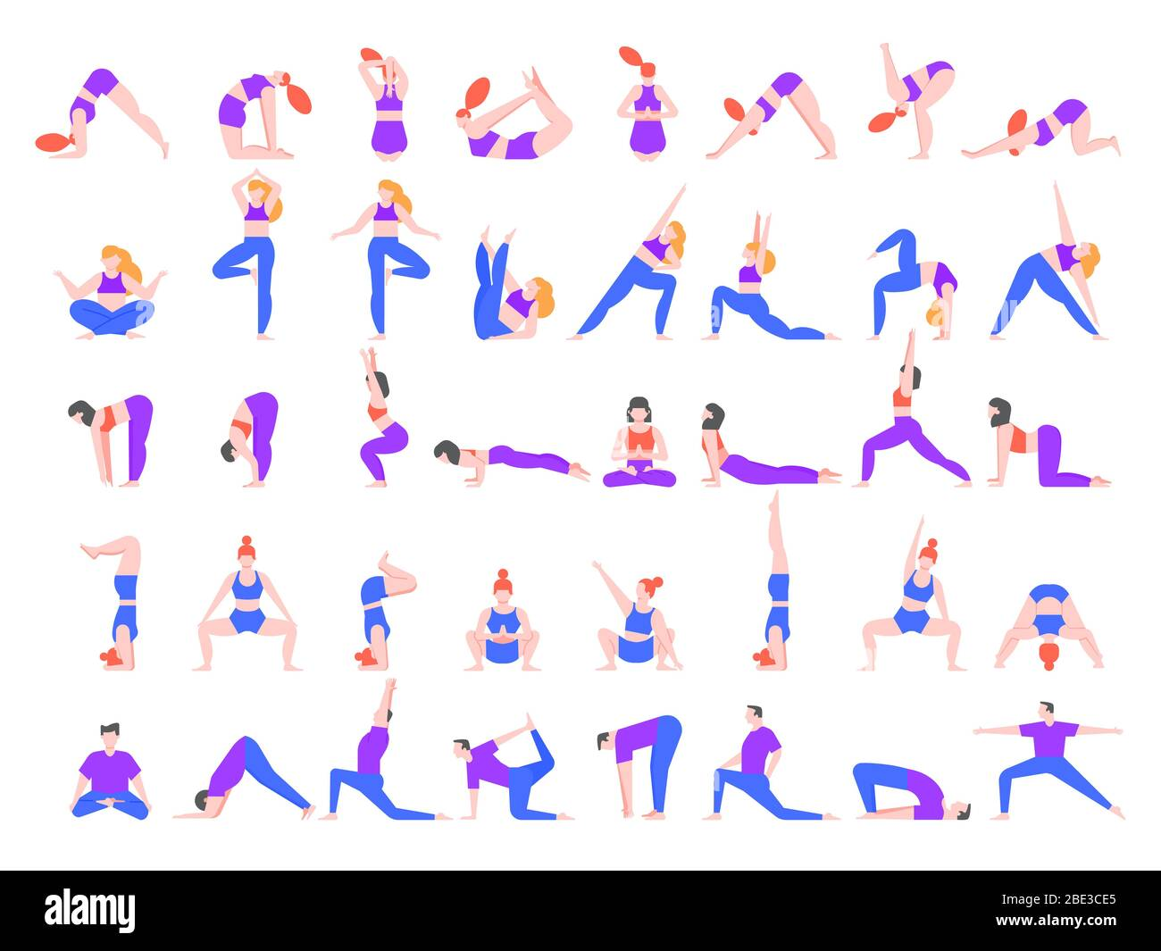 Yoga Asanas Practice In Yoga Poses Young People Train Balance Meditate And Relax At Yoga Class Vector Illustration People Characters Practicing Stock Vector Image Art Alamy