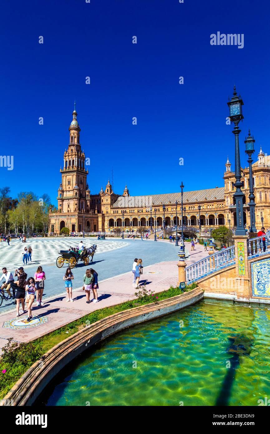 Pavilion at Plaza de España in Parque de María Luisa, Andalusia, Spain Stock Photo