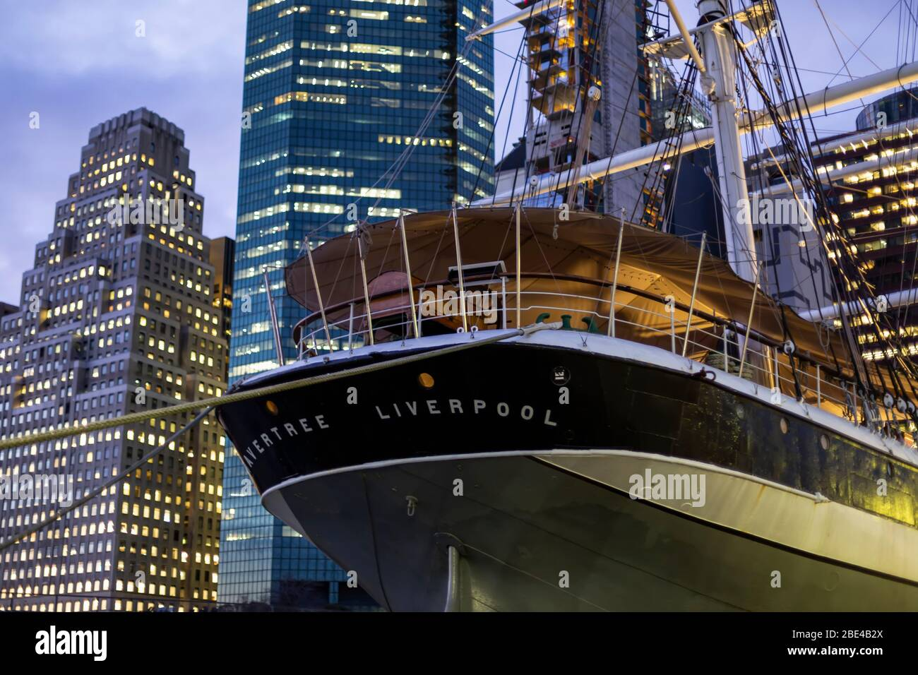 Wavertree, a sailing ship at South Street Seaport, Museum, Manhattan; New York City, New York, United States of America Stock Photo